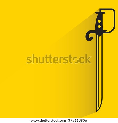 long sword on yellow background, flat and shadow theme - stock vector