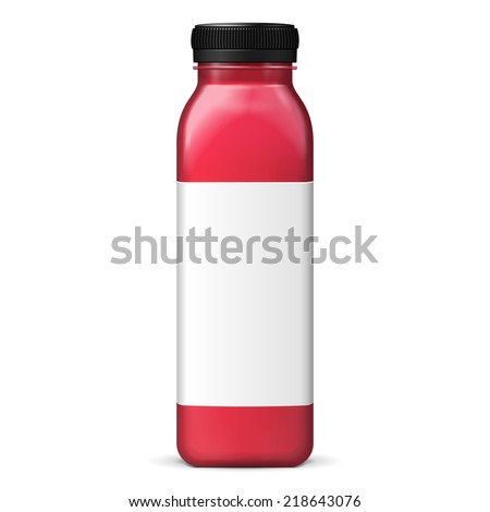 Long Tall Juice Or Jam Glass Red Violet Purple Bottle Jar On White Background Isolated. Ready For Your Design. Product Packing. Vector EPS10 - stock vector