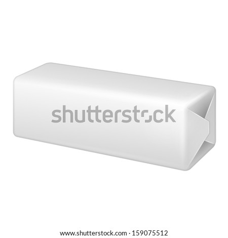 Long White Wrap Package Bundle Box. Packaging For Parcel Post, Food, Gift Or Other Products. On White Background Isolated. Ready For Your Design. Product Packing Vector EPS10  - stock vector