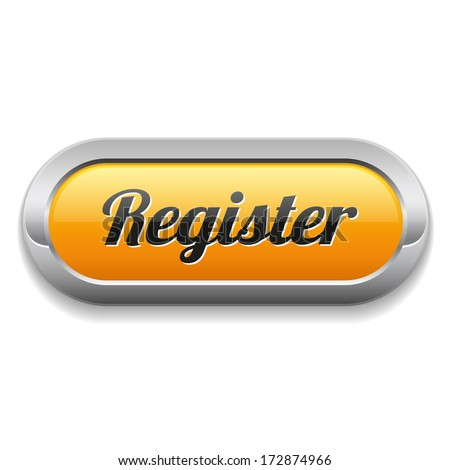 Long yellow register button with metallic border - stock vector