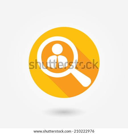 Looking For An Employee. Looking For Talent. Search for businessman. Flat icon design with long shadow - stock vector