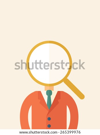 Looking For The Best Man. A contemporary style with pastel palette, beige tinted background. Vector flat design illustration. Vertical layout with text space on top part.  - stock vector