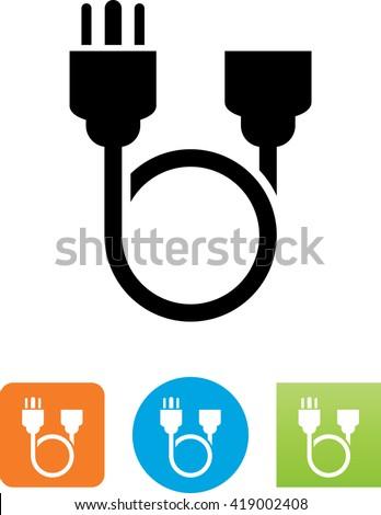 Looping Three Pronged Power Cord Symbol Stock-vektorgrafik ...