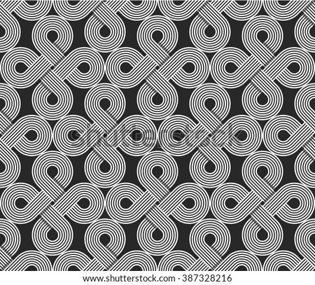 Loops seamless pattern, repeating symmetry ornament, wrapping line circles background, graphic design element - stock vector