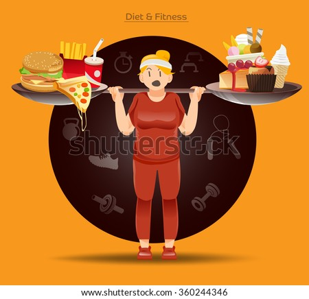 loose weight Concept. Fat people must have fight to her food. Heavy Burn calories.The burden of obesity .Illustration for approach to communication for Health.Graphic design and vector EPS 10. - stock vector