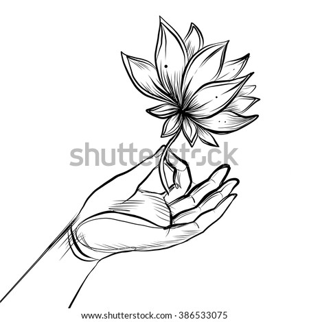 Lord Buddhas Hand Holding Lotus Flower Stock Vector 386533075