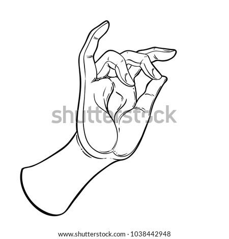 Lord Buddhas Hand Eye Holding Lotus Stock Photo Photo Vector