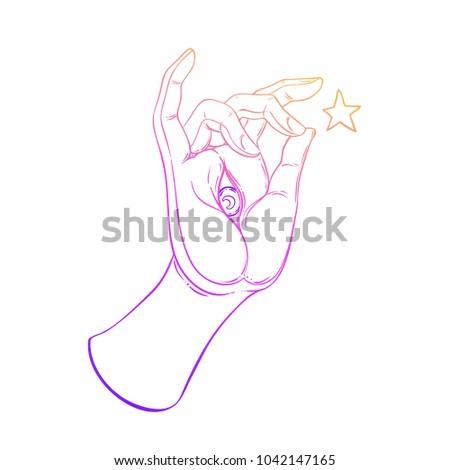 Lord Buddhas Hand Eye Holding Sacred Stock Vector 1042147165