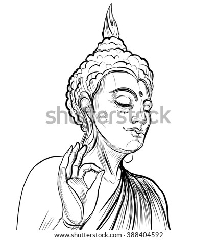 Lord Buddha. Vector illustration isolated on white. Sketchy style,hand drawn. Vintage drawing. Indian, Buddhism, Spiritual motifs. Tattoo, yoga, spirituality.