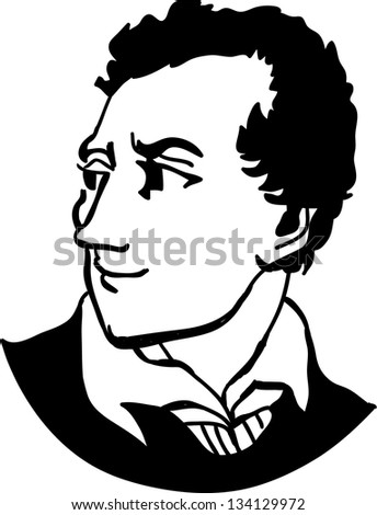 Lord Byron - English poet in Romantic movement - stock vector