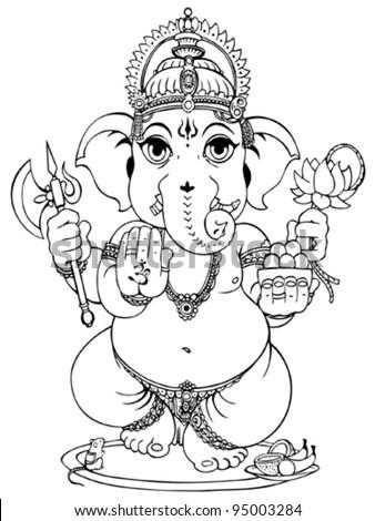 Lord Ganesha of Hindus God. - stock vector