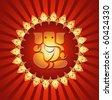 Lord Ganesha On Lighting Burst Background (Vector) - stock vector