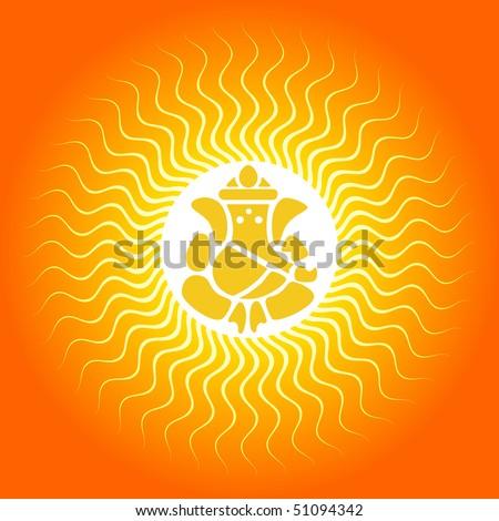 Lord Ganesha On Sun Burst Background - stock vector