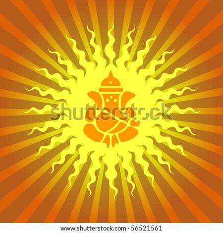 Lord Ganesha Sign on Sun Burst Background - stock vector