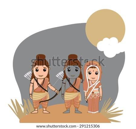 Lord Rama, Sita and Lakshman - Hindu God - stock vector