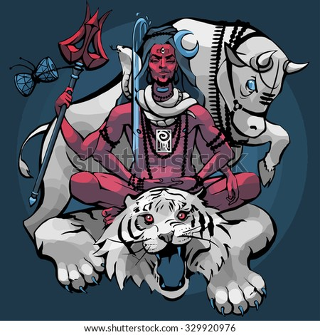 Lord Shiva, Nandi the bull, tiger and snake around his neck on a blue background. White, red and blue colors. Vector illustration.