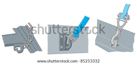 Lorry, load securing hooks and fixings - stock vector
