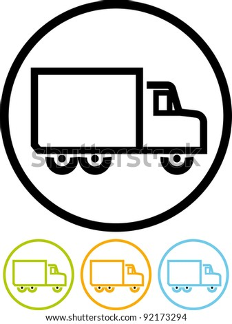 Lorry truck - Vector icon isolated on white - stock vector