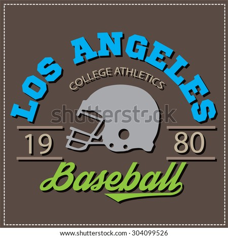 Los angeles athletic champions college varcity baseball football logo, emblem, sign. Vector Graphics and typography t-shirt design for apparel. Very easy to use. - stock vector