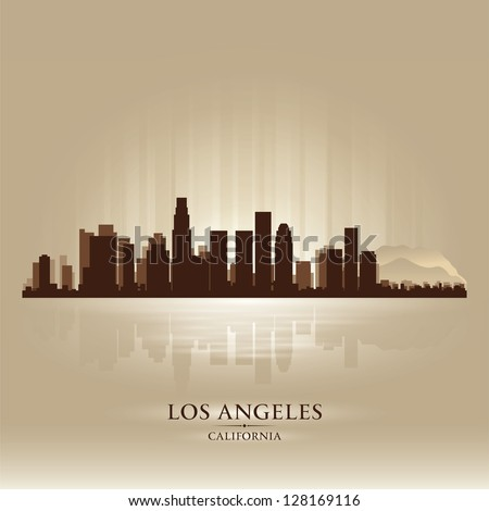 Los Angeles, California skyline city silhouette - stock vector
