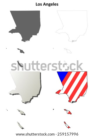 Los Angeles County (California) outline map set - stock vector
