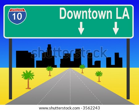 Los Angeles freeway with sign illustration - stock vector