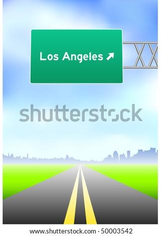 Los Angeles Highway Sign Original Vector Illustration - stock vector