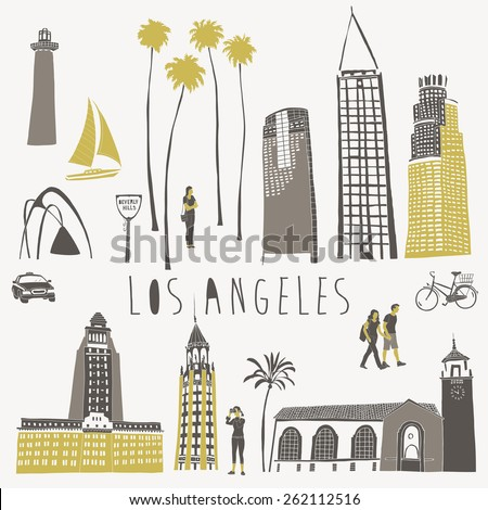 Los Angeles landmarks and monuments - stock vector