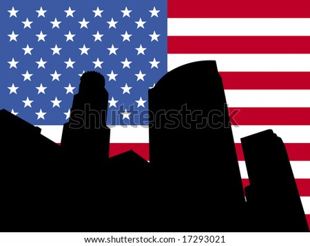 Los Angeles skyline and American flag illustration - stock vector
