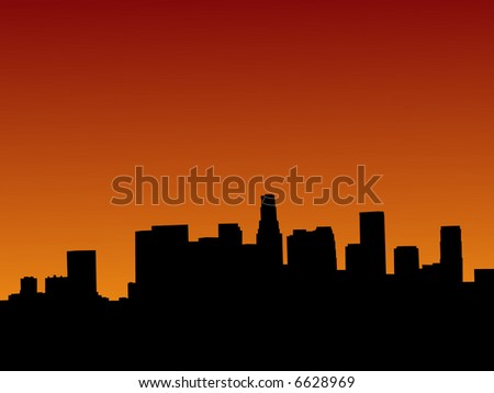 Los Angeles skyline at sunset with beautiful sky - stock vector