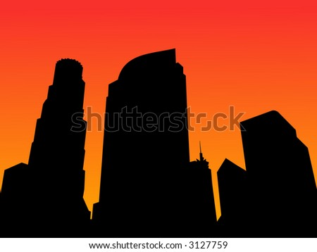 Los Angeles skyline at sunset with colorful sky - stock vector