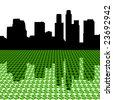 Los Angeles Skyline reflected with dollar symbols illustration - stock photo