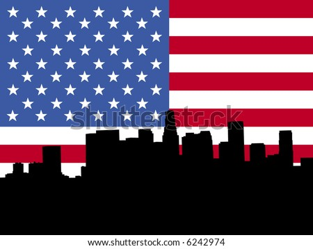 Los Angeles skyline viewed from Hollywood Boulevard against American flag - stock vector
