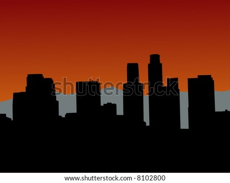 Los Angeles skyline with mountains at sunset - stock vector
