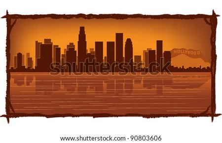 Los Angeles skyline with reflection in water - stock vector