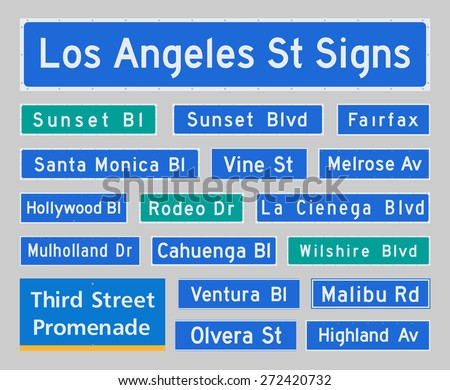 Los Angeles Street Signs - stock vector