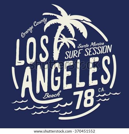 Los Angeles surf typography, t-shirt graphics, vectors - stock vector