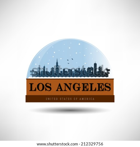Los Angeles, United States of America city skyline silhouette in snow globe. Vector design. - stock vector