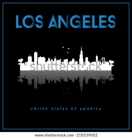 Los Angeles, USA skyline silhouette vector design on black background. - stock vector