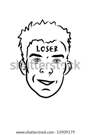 Loser on forehead boy - stock vector