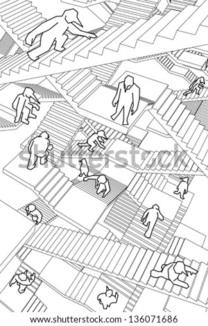 lost and confused people running upwards and downwards a labyrinth of stairs - stock vector
