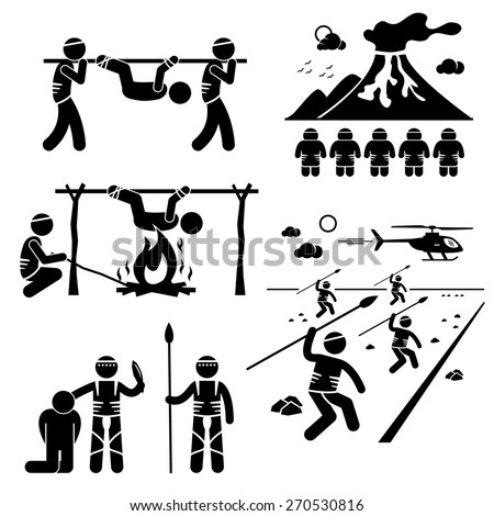 Lost Civilization Cannibal Man Eating Tribe Stick Figure Pictogram Icons - stock vector