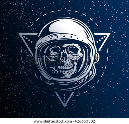 Lost Space Dead Astronaut Spacesuit Geometric Stock Vector ...
