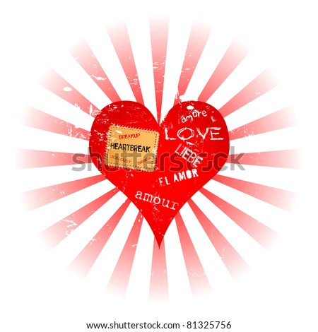 lost love and heartbreak illustration - stock vector
