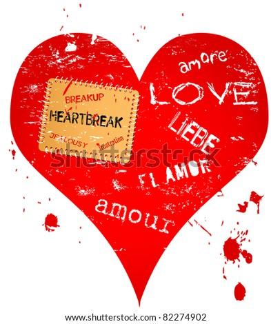 lost love and heartbreak illustration - stock vector