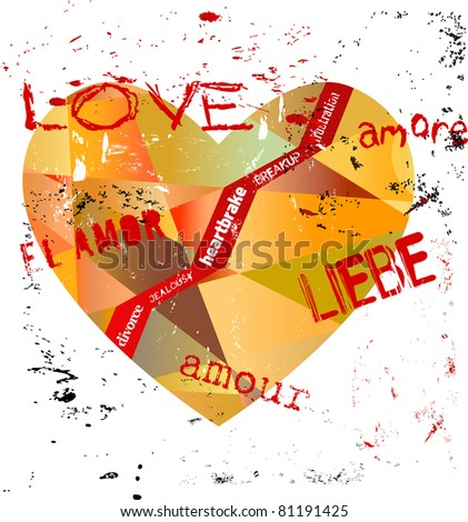 lost love concept, heart with various writings,  vector - stock vector
