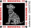 Lost puppy. Word cloud with missing or runaway dog. - stock vector
