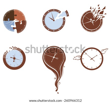 Lost time icon set. Six various clocks isolated on white background.  - stock vector