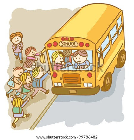 Lot of children going up on the School bus - stock vector