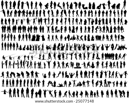 Lot of different people in action vector - stock vector